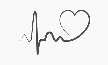 Heartbeat Line Art : Gray heart icon with sign heartbeat vector illustration
