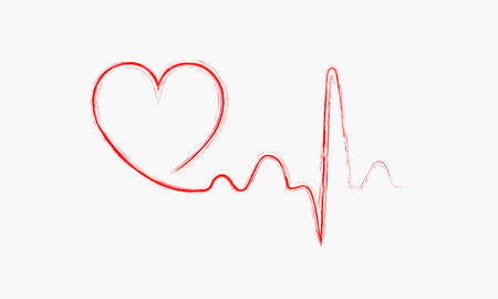 heart beats: Red heart icon with sign heartbeat. Vector illustration. Heart sign in flat design.
