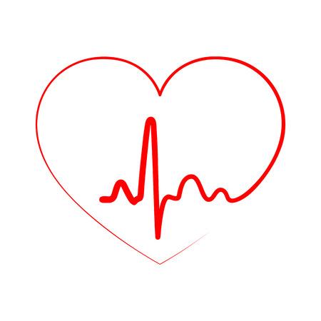Red icône de coeur avec le signe du rythme cardiaque. Vector illustration. signe de coeur dans la conception à plat. Banque d'images - 74562076