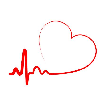 Icono de corazón rojo con latidos del corazón de la muestra. Ilustración vectorial Signo de corazón en diseño plano.