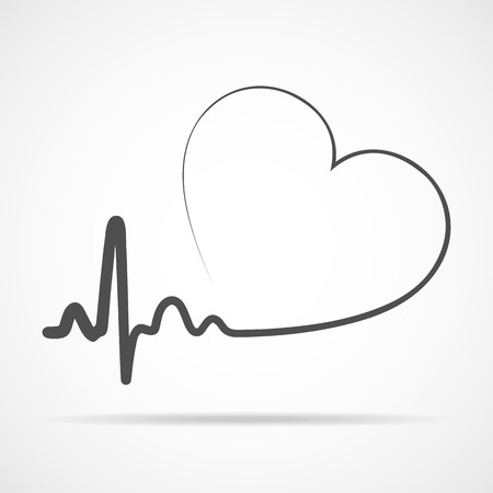 Gray heart icon with sign heartbeat. Vector illustration. Heart sign in flat design. Vector Illustration