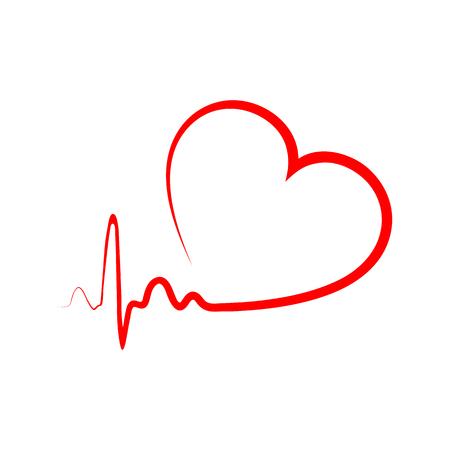 Rood hart pictogram met teken heartbeat. Vector illustratie. Hartteken in plat ontwerp.