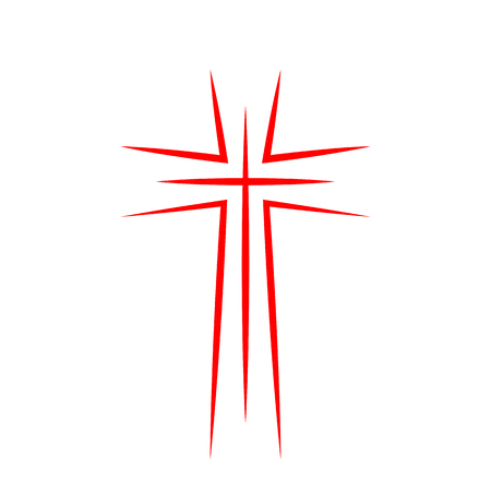 Red christian cross icon. Abstract line christian cross. Vector illustration