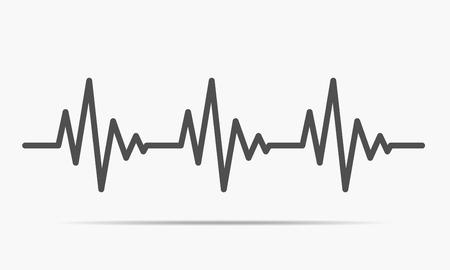 Gray heartbeat icon. Vector illustration. Heartbeat sign in flat design. Vector Illustration