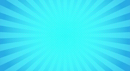 sunbeam: Bright sunbeams background with blue dots. Abstract background with halftone dots design. Vector illustration.