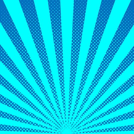 Bright sunbeams background with blue dots. Abstract background with halftone dots design. Vector illustration.