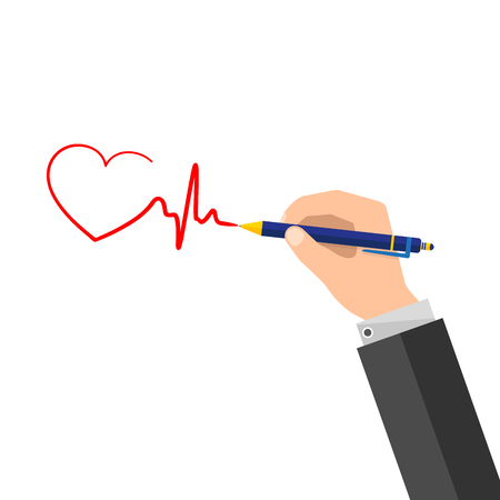 A man puts a signature in the form of a heartbeat.