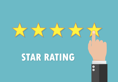 Rating stars and businessman hand pushed star. Pointing hand on the fifth star. Concept of feedback in flat design. Vector illustration. Illustration