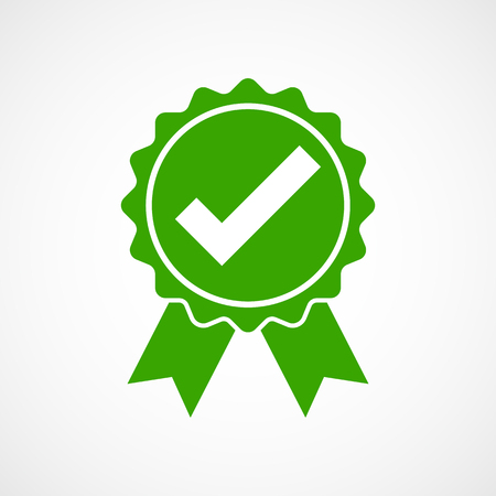 Green approved icon in flat design. Check mark on light background. Vector illustration.