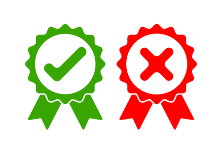 Green approved and red rejected icons. Check mark and cross mark on white background. Vector illustration.