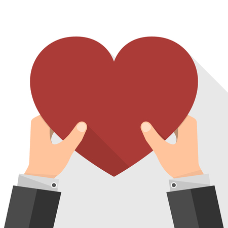 Red heart in the hands. Vector illustration. Businessman holding in hands heart as symbol of the love. Illustration