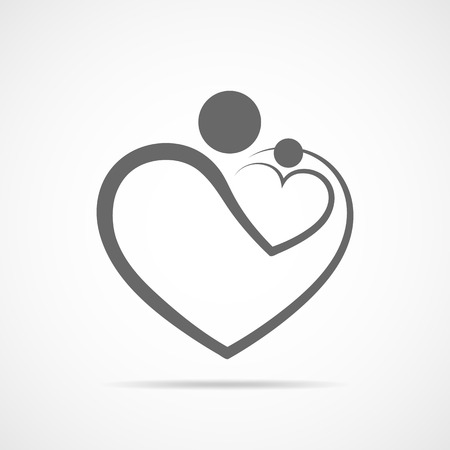 Family care symbol in the heart shape. Vector illustration. Concept of the happy family in flat design