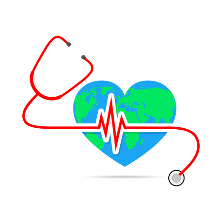World health day. Vector Illustration. Globe in the form of the heart with stethoscope and Heartbeat sign on white background.