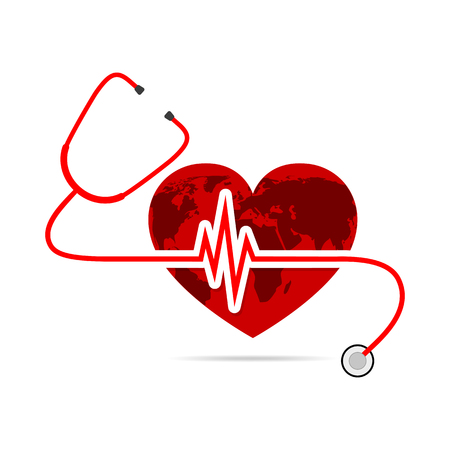 heart beats: World health day. Vector Illustration. Globe in the form of the heart with stethoscope and Heartbeat sign on white background.