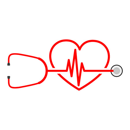 Stethoscope in shape of electrocardiogram. Vector illustration. Stethoscope, heartbeat sign and a silhouette of the heart. Illustration