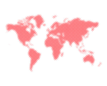Red halftone world map isolated. Vector illustration. Dotted map in flat design. Illustration