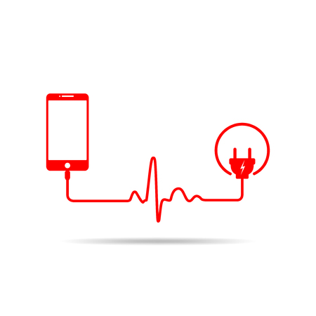 Smartphone charging connect to power plug. Charging a mobile phone with a cable in shape of heartbeat. Vector illustration. Illustration