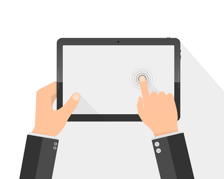 tablet pc in hand: Hands holding digital tablet with blank screen. Vector illustration. Modern tablet PC with touch screen in the hands isolated. Illustration