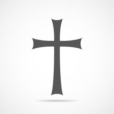 Gray Christian cross icon. Simple Christian cross on light background. Vector illustration. 일러스트