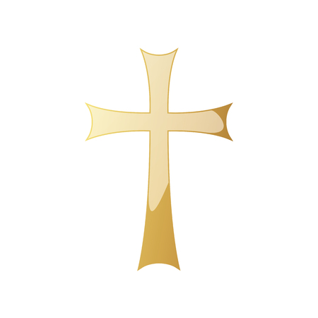 Golden Christian cross icon. Vector illustration. Golden Christian cross isolated on white background.