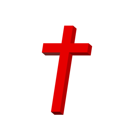 Red Christian cross icon. Simple Christian cross on light background. Vector illustration.