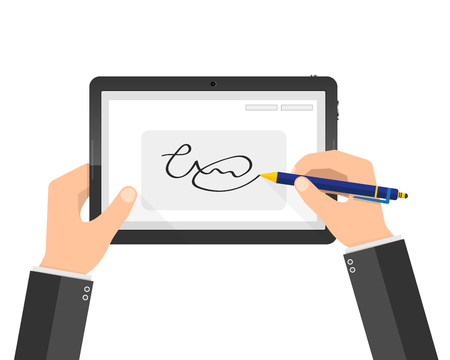Hands of businessman and digital signature on tablet. Vector illustration. Concept of modern handwritten digital signature in flat design.
