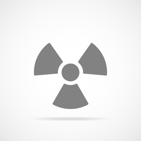 Danger radiation icon in flat design. Vector illustration. Gray symbol of radiation isolated on light background.