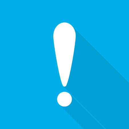 endanger: White exclamation mark in flat design. Vector illustration. Exclamation mark with long shadow on blue background. Illustration