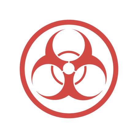 Biohazard icon in flat design. Vector illustration. Red symbol of biohazard, isolated on white background.
