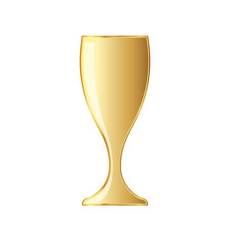 Golden wine glass icon. Vector illustration. Golden wine glass cup icon on white background. Illustration