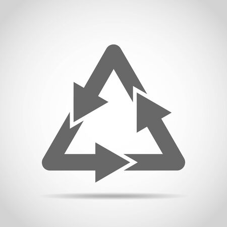 gray: Recycle sign. Vector illustration. Gray recycle sign isolated on light background.
