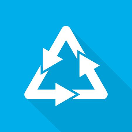 basura organica: Recicle la muestra. Ilustración del vector. Blanco recicle el símbolo con la sombra larga en fondo azul.