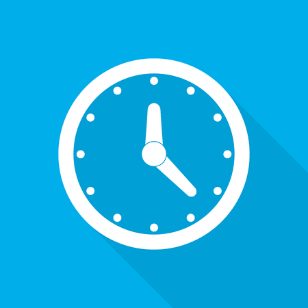 Clock icon with arrows in flat design. Vector illustration. White clock icon with long shadow on blue background. Illustration