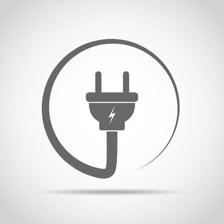 gray: Wire plug icon in flat design. Vector illustration. Wire plug in the circle. Concept of connection and disconnection of the electricity.