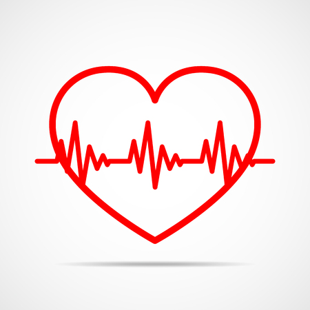 heart disease: Red heart icon with sign heartbeat. Vector illustration. Heart in flat outline style.