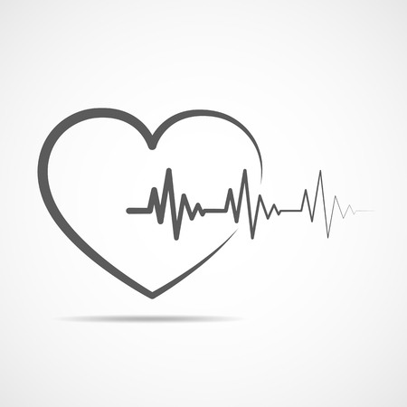 cardiograph: Black heart icon with sign heartbeat. Vector illustration. Heart in flat outline style.