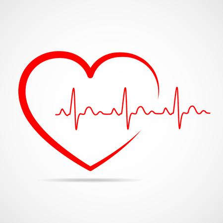 Icona del cuore rosso con segno del battito cardiaco. Illustrazione vettoriale. Cuore in stile piatto. Vettoriali
