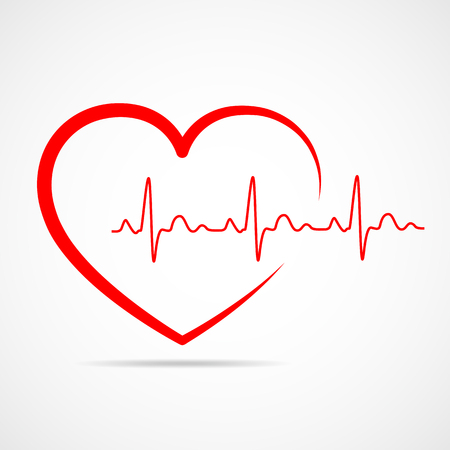 Red heart icon with sign heartbeat. Vector illustration. Heart in flat outline style.