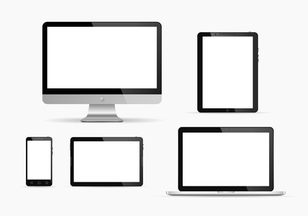 touch screen phone: Electronic devices with white screen. Vector illustration. Set of monitor, tablet pc,smart phone and laptop.