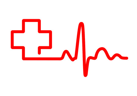 Red heartbeat sign with medical cross. Illustration