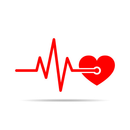 heart disease: Red heart icon with sign heartbeat.