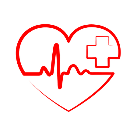 cardiograph: Red heart with heartbeat sign and with cross.