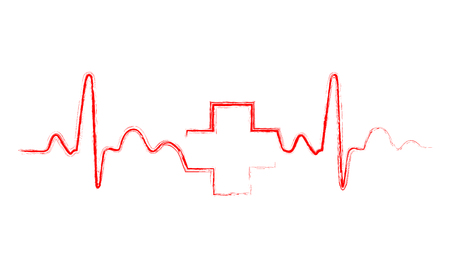 heart monitor: Red heartbeat sign with medical cross. Illustration