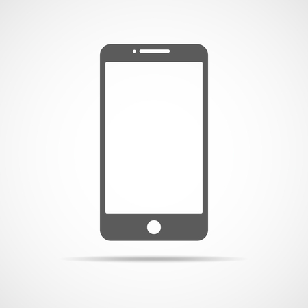 wireless communication: Gray smart phone icon. Vector illustration. Mobile phone icon, isolated on light background.