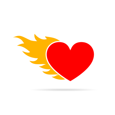 Heart on fire, isolated on white background. Heart in flame, in flat design. Vector illustration