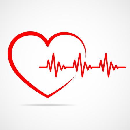 Icono de corazón rojo con latidos del corazón de la muestra. Ilustración vectorial Corazón en estilo de contorno plano.