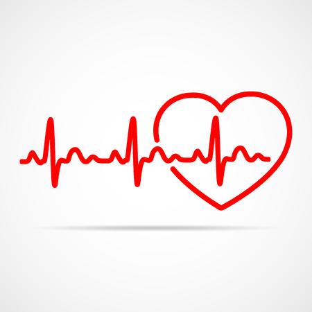 Icono de corazón rojo con latido del signo. Ilustración del vector. Corazón en estilo de contorno plano.