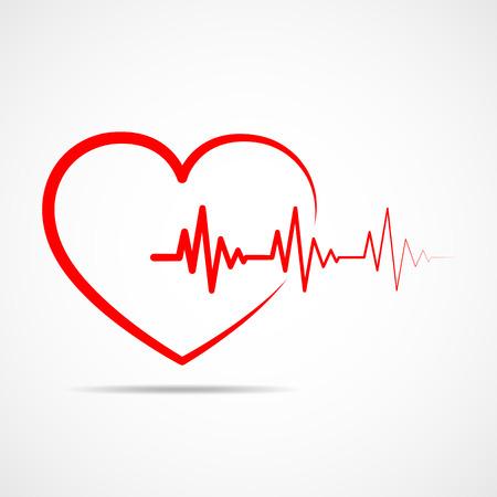 electrocardiograma: Icono de corazón rojo con latido del signo. Ilustración del vector. Corazón en estilo de contorno plano.