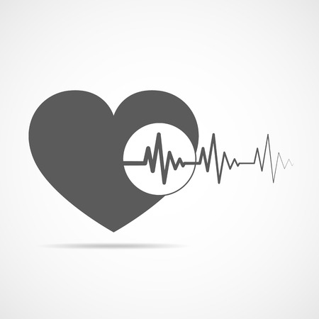 cardiograph: Gray heart icon with sign heartbeat. Illustration