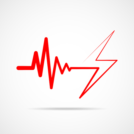 Red heartbeat sign with lightning. Vector illustration. Heartbeat icon in flat outline style. Illustration